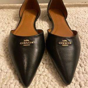 NEW Black Coach Flats with Gold Front Plate
